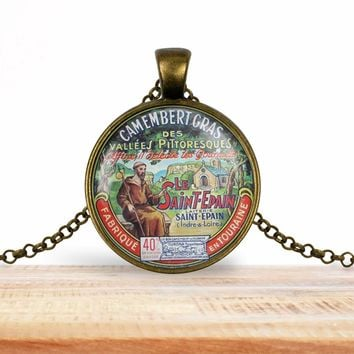 Vintage product label pendant - Camembert Gras le Saint-Épain- foodie necklace, francophile necklace