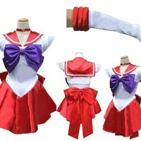 Amour- Deluxe Sailor Moon Mars Costume Cosplay Uniform Fancy party Dress & Gloves (M, AS04)