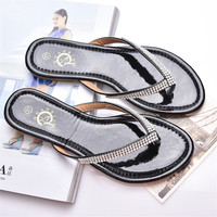 2016 New Arrival Spring Flip Flop Women Sandals Rhinestone Fashion Flat Shoes Woman Ladies Shoes Zapatos Mujer DT194
