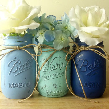 Shades of Blue, Hand Painted Mason Jars | Rustic, Home Decor | Three Painted Mason Jars