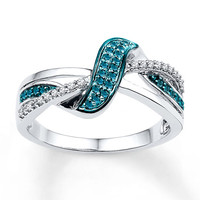 Blue Diamond Ring 1/4 ct tw Round-cut Sterling Silver