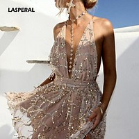 LASPERAL 2020 Spring Party Dresses Sexy Dresses Women Backless Halter Black Gold Mini Dress Party Tassel Dress Women Club Wear