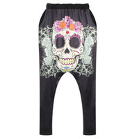 East Knitting BL-582 New  Women Fashion Harem Pants Skull Designed Fitted Sweatpants For Men Hip Hop Loose Pants Street Trousers