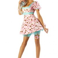 PINK CUPCAKE SQUARE NECK PUFF SLEEVE TULLE SEXY HALLOWEEN COSTUME