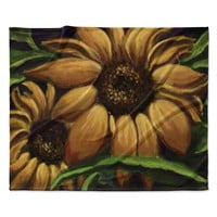 "Cyndi Steen ""Sunflower Days"" Yellow Floral Fleece Throw Blanket"