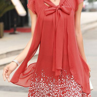 Jacinth Bow Tie Collar Layered Chiffon Dress