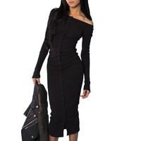 High Quality!! Women Charming Off The Shoulder Mid Calf Dress Long Sleeve Vogue Stylish Buttons Maxi Bodycon Sexy Club Dresses