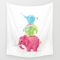 Elephants Wall Tapestry by Freeminds
