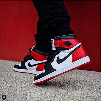 AJ1 Air Jordan 1 High-Top Breathable Sneakers Shoes Red