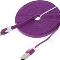 OVI 10FT/3M 8 Pin USB Noodle Data Cable Sync Charger Cord For IPhone 5 5G Nano 7th
