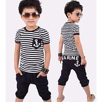 Summer clothing sets kids pants + Top boys girls Navy Stripe kids clothes children tracksuit