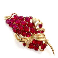 Coro Pegasus Red Brooch, Ruby Red Oval Round Rhinestones, Textured & Smooth Gold Tone, Floriated Design, Vintage Jewelry, Designer Signed