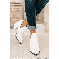 IMPERFECT Swoon Worthy Studded Leather Booties (White)