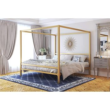 DHP Modern Canopy Metal Bed, Gold, King