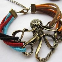 Retro octopus color leather cord bracelet