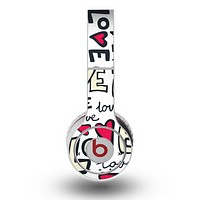 The Love and Hearts Doodle Pattern Skin for the Original Beats by Dre Wireless Headphones