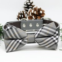 Gray Plaid Dog Bow Tie collar, Chic Dogs Bow tie, Puppy Lovers, Pets Wedding, gift , Wedding dog collar