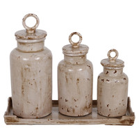 Privilege Lidded Urns and Tray Set