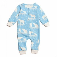 Winter Water Factory Arctic Blue Polar Bear Jumpsuit - Organic French Terry