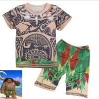 DCCKH6B (2 pieces) New Moana KidsTop Shirt pant cosplay costume  Summer Cartoon set for 3-9Y kids
