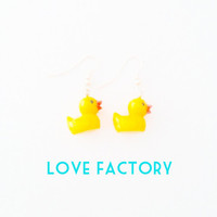 Happy duckling pretty Adorable yellow Earring :) Happy Lovely Cute Kawaii Jewelry for All Girls xoxo Love Factory