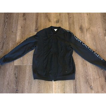 Calvin Klein Black Mesh Zip Up Sweater Sleeve Spell Out