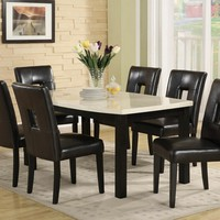 7 pc Archstone II collection black finish wood and faux marble top dining table set with black upholstered seats