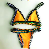 HOT COLORFUL WOVEN KNIT TWO PIECE BIKINIS KNIT WEAVE EDGE WAVE LINE