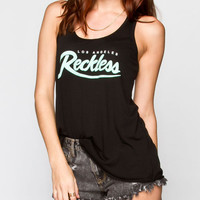 Young & Reckless Big R Script Womens Tank Black  In Sizes