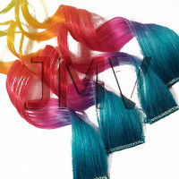 """Save - ON SALE NOW 14"""" Rapid Rainbow 100% human hair Clip In Ombre extensions Dip Dye Aqua Blue Lavender Purple Pink Red Orange Yellow Green"""
