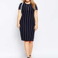 ASOS Curve | ASOS CURVE Fine Knit Tunic Dress with Cross Stitch Stripe at ASOS