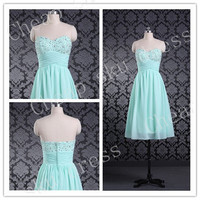 Hot Sale A-Line Sweetheart Beads Lace-up High Quality Cheap Chiffon Ruffle Piping Short Bridesmaid /Party / Evening /Prom / Formal Dresses