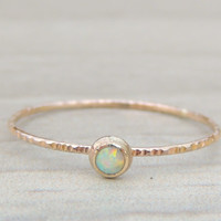 MINI OPAL Glowing 14kt AAA Opal Gold ring // Rainbow Gemstone Ring // Opal Ring // made to order