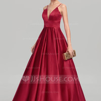 [ 117.99] Ball-Gown V-neck Floor-Length Satin Prom Dress (018147708)