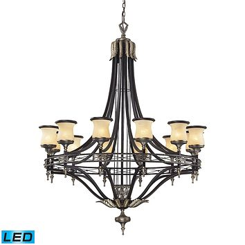 Georgian Court 12-Light Chandelier in Bronze and Umber with Marbleized Glass - Includes LED Bulbs