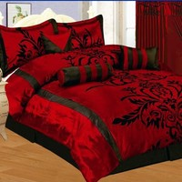 7 PC MODERN Black Burgundy Red Flock Satin COMFORTER SET / BED IN A BAG - FULL SIZE BEDDING