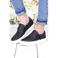 Not Rated: Glitter Zipper Tim Slide On Sneakers {Midnight}