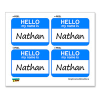 Nathan Hello My Name Is - Sheet of 4 Stickers