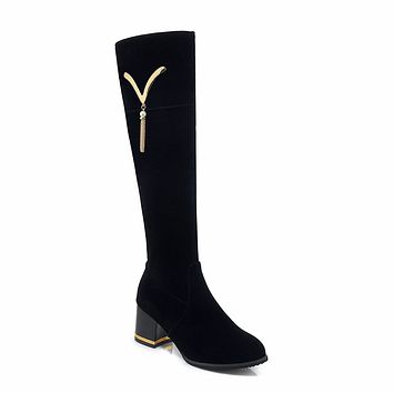 Faux Suede Tall Boots Winter Shoes for Woman 7736