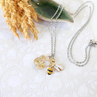 Honey Bee Charm with Yellow Citrine Nugget Gemstone Necklace, Ice Transparent Stone Pendant, November Birthstone