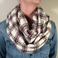 Handmade Infinity Scarf Plaid Flannel - Double Layer Super Warm!  Cream, Red and Black Scarf, Christmas Gift