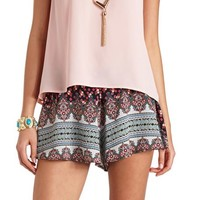 FLOWY SCARF PRINT HIGH-WAISTED SHORTS