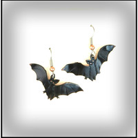Halloween bat earrings, Halloween jewelry, Halloween bat, Halloween costume, Halloween earrings, bat jewelry, Goth, spooky, copper bat