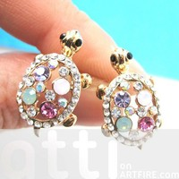 Cute Turtle Tortoise Sea Animal Stud Earrings with Pink Rhinestones