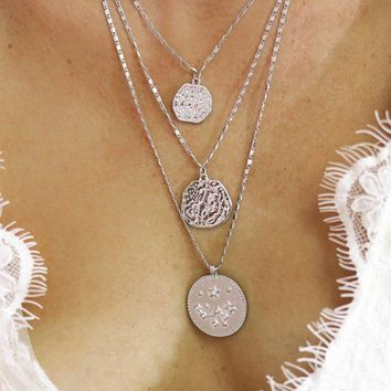Layered Silver Coin Necklace - Amazing Lace