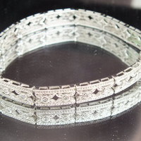 Sterling Silver Bracelet with 26 Small CZ Diamonds, 7 1/2-Inch Bracelet, Beautiful Vintage Jewelry, Free Shipping in USA