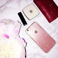 Rose Pink Gold Ombre Glitters Handmade Sparkle Fading Transparent Phone Case 5/5s/6/6s/6s plus for iPhone & Samsung s5/s6/s6 edge+ Clear
