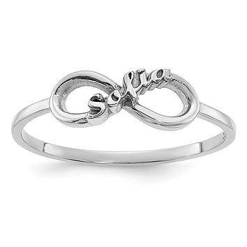 14K White Gold Personalized Infinity Name Ring