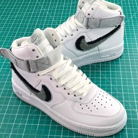Nike Air Force 1 High Chenille Swoosh White Sport Shoes - Best Online Sale