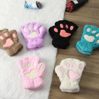 Paw Gloves - Fingerless Cashmere Furry Cat Paw Gloves